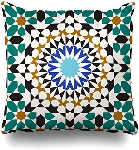 Mesllings - Funda de cojín Cuadrada con diseño de Mosaico marroquí, Estilo árabe y Abstracto, 45...