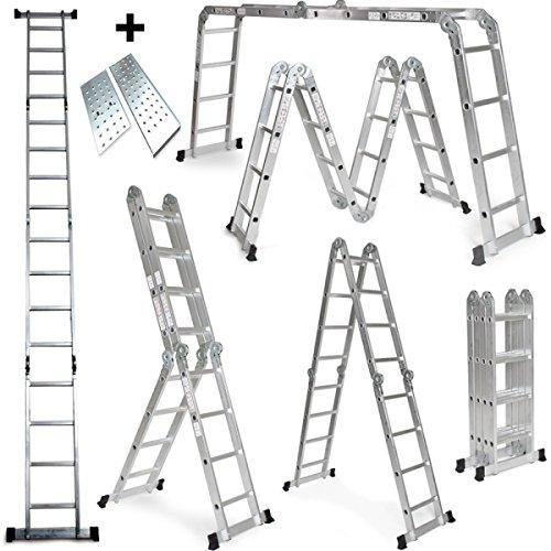 Grandmaster - Escalera multifunción 470Cm 6 en 1 de aluminio Plegable con Plataforma - DLM104-PL