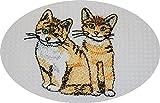 Triolino Waffelpique-Geschirrtuch in 100 Baumwolle mit schöner Stickerei, Größe:50 cm x 70 cm;Farbe:Katze