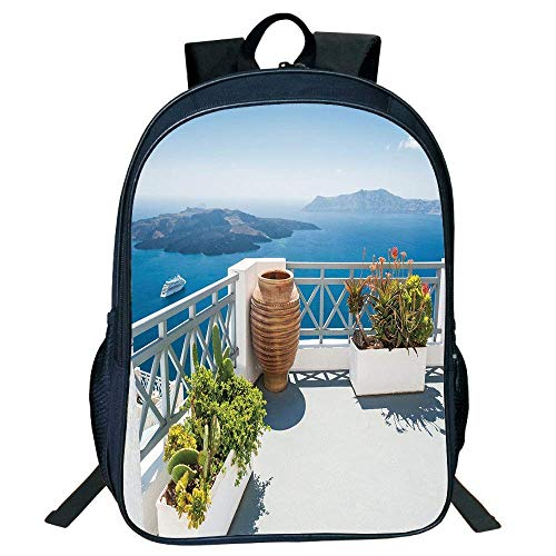 HOJJP Schultasche Stylish Unisex School Students Black Landscape,Santorini Island Greece Aegean Sea Trees Flowers Clear Sky Photo Print,Light Blue White Kids, -