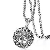Oidea Herren Kette Lebensbaum Silber Anhänger Halskette Schmuck 56CM Kettenlänge, Geschenk für Männer