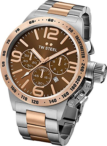 TW STEEL MEN'S 50MM TWO TONE STEEL CASE QUARTZ BROWN DIAL ANALOG WATCH CB154