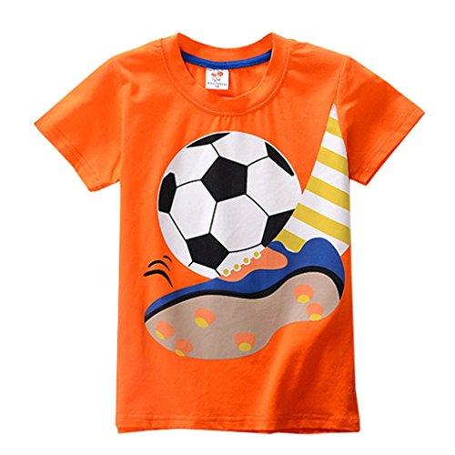 Chshe Kinder T-Shirt, 2-8 Jahre Säugling Jungen Mädchen Karikatur Fußball Sport Top Kostüm (Orange, 8 Jahre) (Kinder-fußball-kostüme)