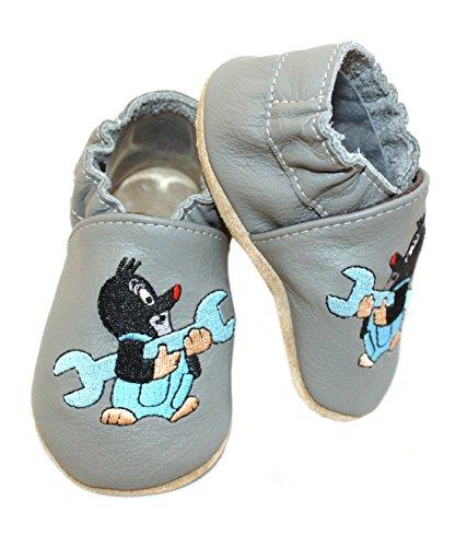 HOBEA-Germany , Chaussures souples pour bébé (fille) Handwerker grau 20/21 (12-18 Monate) Handwerker grau