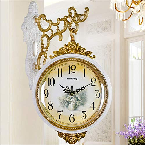 Linbing123 Silent Fashion Garten Doppelseitige Wanduhr leise Grand Central Station Wanduhr Art Clock Dekorative doppelseitige Wanduhr 360 Grad drehbar 002
