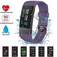 NickSea Montre Connectée Couleur, Bracelet Connecté IP67 Etanche avec Ecran Couleur Tactile avec Cardiofréquencemètres, Podomètre, Distance, Calorie, Notification Appel & SMS