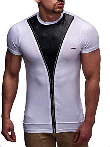 LEIF NELSON Herren T-Shirt Poloshirt LN0140; Größe L, Weiss |