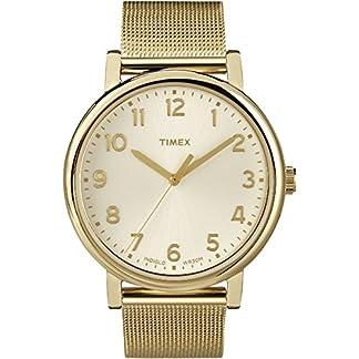 Timex T2N597D7 – Reloj de Cuarzo Unisex, Correa de Silicona, Color Oro