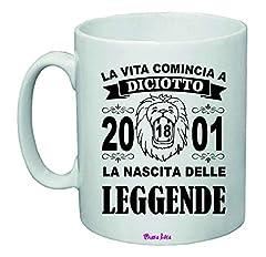 Idea Regalo - Tazza 8x10 Anno 18 Anni 2001 Compleanno Festa Nascita Leggende Leone coscritti