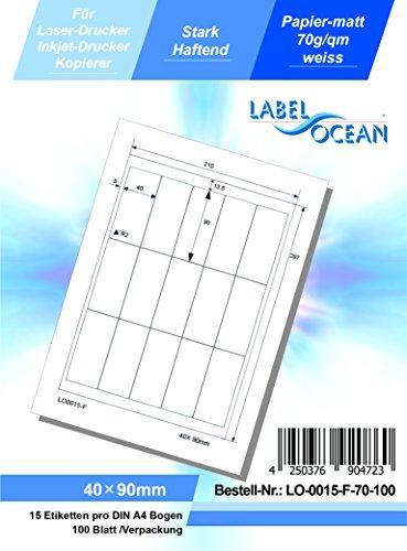 LabelOcean LO-0015-F-70-100 Universal Etiketten, 100 Blatt 70g/qm, hochwertiges Papier