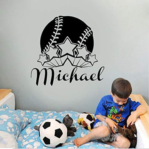 ball Player Custom Personalised Boys Name Vinyl Wall Stickers Decal Nursery Home Decor Boys 57X54Cm ()