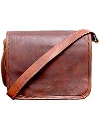 """9""""Genuine Leather Handmade Satchel Messenger Unisex Shoulder Bag Daily Use."""