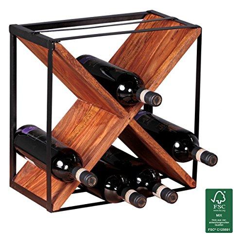 FineBuy Weinregal Massiv-Holz Flaschenregal Design Standregal für ca. 16 Flaschen mit Metallrahmen...