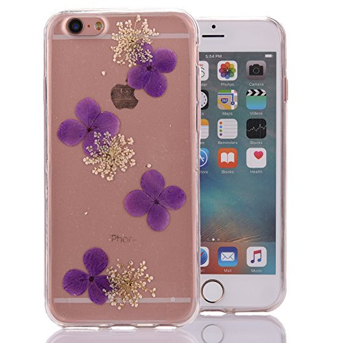 """iPhone 6sPlus Schutzhülle, iPhone 6Plus Soft TPU Handytasche, CLTPY Modisch Durchsichtige Rückschale im Getrocknete Blumenart, [Stoßdämpfung] & [Kratzfeste] Full Body Case für 5.5"""" Apple iPhone 6Plus/ Floral 4"""