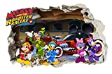 Giant Micky und der Roadster Racers Wandtattoo Kinderzimmer, Disney Mickey Maus, Minnie Maus