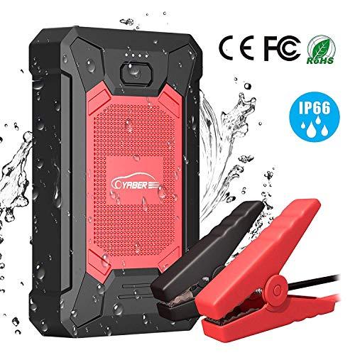 YABER Booster Batterie, 600A 12000mAh IP66 Étanche Booster de Batterie Voiture Moto (Jusqu'à 4,0L de Essence 2,0L Diesel) Robuste Jump Starter avec USB et Lamp LED, Kit Pinces Crocodiles, UL...