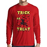 T-Shirt Manches Longues Homme Trick or Treat - Halloween Witch - Party outfites - Scary costume (X-Large Rouge Multicolore)