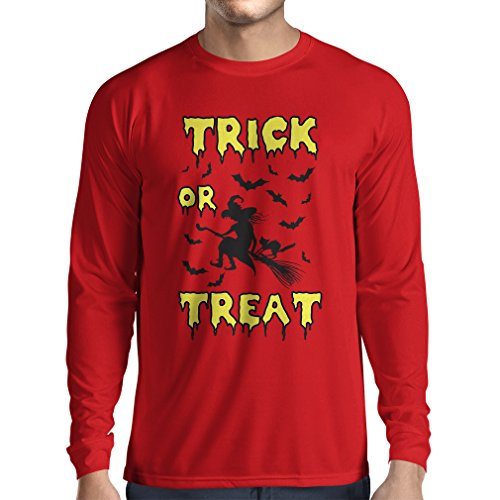 Langarm Herren t shirts Trick or Treat - Halloween Witch - Party outfites - Scary costume (XX-Large Rot Mehrfarben)