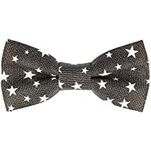 Pop Art Ties Pajarita de lazo de cuero atada stars gris