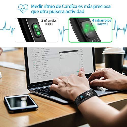 BANLVS Pulsera Actividad Inteligente,  Pulsera Actividad Impermeable 68 con Largo Duración,  Monitor Rítmo Cardíaco Calorías y Sueño,  7 Modos de Deporte,  Pulsera Deportiva para Mujer Hombre Niños
