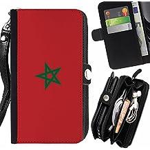 STPlus Marruecos Bandera de Marruecos Monedero Con Correa y Cremallera Carcasa Funda para Samsung Galaxy A5 (2016)