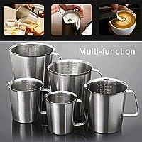 304-Edelstahl 1000 ml Kaffee InvocBL Messskala aus Edelstahl für Küche Bier Aufschäumen Backen