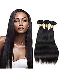 Cheveux Virtuels Brésiliens Straight 3 Bundles 100% Cheveux Humains Non Traités Straight 100% Extensions réelles...