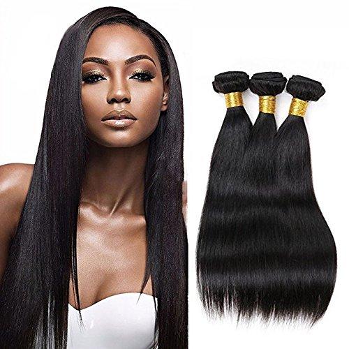 Cheveux Virtuels Brésiliens Straight 3 Bundles 100% Cheveux Humains Non Traités Straight 100% Extensions réelles de cheveux humains Couleur Noir Naturel (12 14 16 pouces)