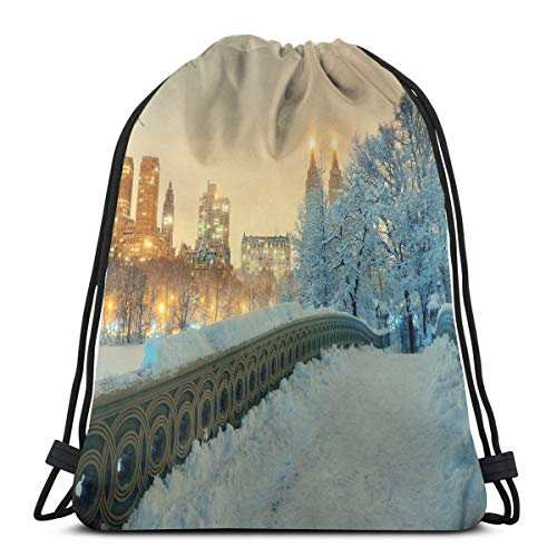 Chanel Bow (Printed Drawstring Backpacks Bags,Central Park Winter Season with Skyscrapers and Snow Bow Bridge Manhattan New York,Adjustable String Closure)