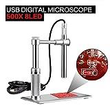 SHUOGOU USB Microscopio Digital, Avanzado CMOS Sensor 500X 2.0MP USB 1600 x 1200 HD Imaging, Fuente de luz Ajustable de 8 LED, Cámara de Inspección de lupa Impermeable Para el Hogar, Salud, Colecciones, Inspección de PCB