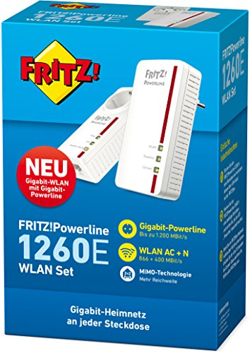 AVM FRITZ Powerline 1260E / 1220E WLAN Set (WLAN-Access Point, ideal für Media-Streaming oder NAS-Anbindungen, deutschsprachige Version, 1.200 MBit/s) - 3