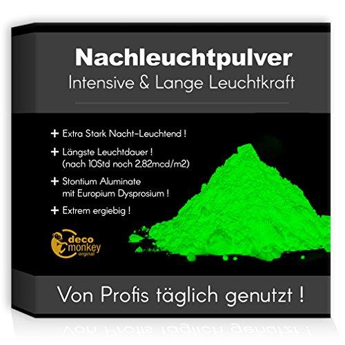 decomonkey Profi Nachleuchtpigment Glühpulver 40g grün Nachtleuchtendes Phosphoreszierend selbstleuchtend Glow Pulver Nachleuchtpulver Leuchtfarben Nacht Leuchtpulver