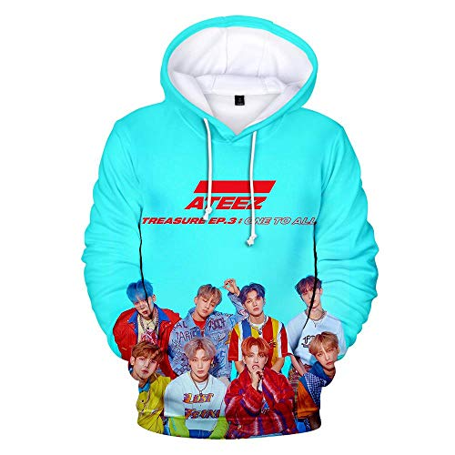 er,Unisex 3D Gedruckte Song Und Tanz Kombination Thema Jugend Kapuzen Sweatshirt Hoodie Lose Paar Pullover Freizeithemd, Ateez, L ()