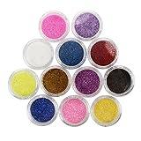 12pz Brillantini Polveri glitter per unghie nail art