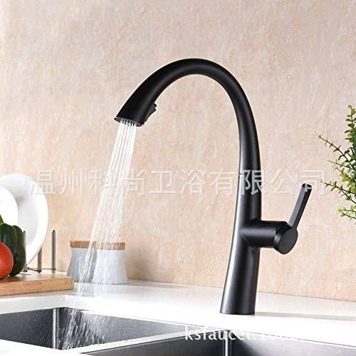 ROTOOY Badarmaturen Wasserhähne Wasserhahn Becken Wasserhahn Wasserhahn KüchenarmaturSchwarz Hot and Cold Pull Küchenarmatur