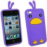 Kit Me Out FR Coque aspect velouté silicone pour Apple iPod Touch 4 (4e génération) - violet motif poulet mignon