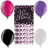 Feste Feiern Geburtstagsdeko Zum 60 Geburtstag | 21 Teile All In One Set Luftballon Servietten Konfetti Pink Schwarz Violett Party Deko Happy Birthday