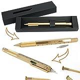 Techniker-Kugelschreiber Gold mit Gravur Ihres Wunschnamens, incl. zwei Schraubendrehern, Wasserwaage und Lineal, im Geschenk-Etui