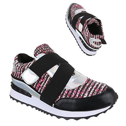 Ital-Design, Sneaker donna Nero (Nero/Fucsia)