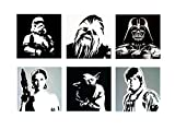 STAR WARS - 6 (SIX) MODERN PAINTINGS - ARTWORK HAND-PAINTED - COMPOSITION FURNITURE LIVING ROOM - POP ART STYLE EFFECT - Characters Star Wars: Darth Vader, Yoda, Chewbacca, Leia Organa, Luk, Stormtropper - (Wood)
