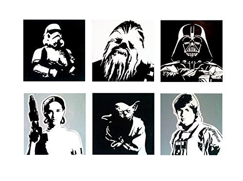 STAR WARS GUERRE STELLARI - SET. 6 (SEI) QUADRI MODERNI DIPINTI A MANO - COMPOSIZIONE ARREDO SALOTTO - POP ART STYLE EFFECT - Personaggi Star Wars: Darth Fener ( Darth Vader), Yoda, Chewbecca, Leila Organa, Luk, Stormtropper