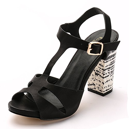 Alexis Leroy Stacked, Sandali con T bar donna Nero