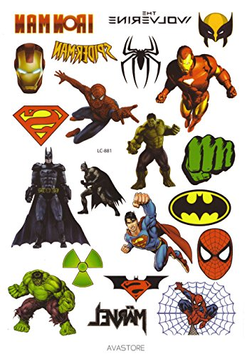 Avastore temporäre Tattoos, Marvel-Superhelden, Blatt mit 20Tattoos