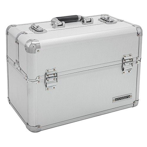 anndora Werkzeugkoffer 24L Präsentationskoffer Etagenkoffer Silber + Schlüssel