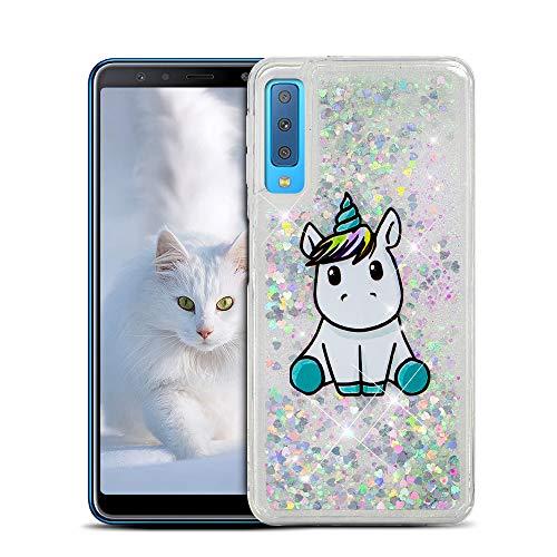 Custodia per Samsung A7 2018 Cover Galaxy A7 2018 Silicone, SpiritSun 3D Bling Bling Glitter Liquide TPU Trasparente Cover per Samsung A7 2018 Perfetta Protezione Shell Shockproof Caso-Unicorno