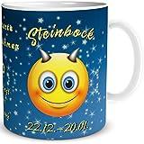 Tasse Smiley Sternzeichen Steinbock, lustiges Geschenk Geburtstag Frauen Männer Freunde Kollegen, Blau Gelb, 300 ml