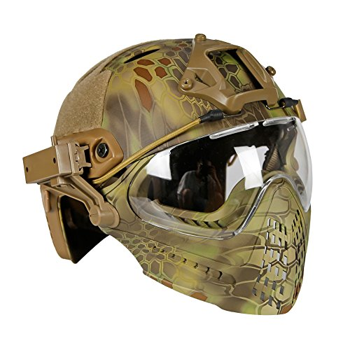 PJ Tactical Fast Helm & Full-Covered Militärischer Protective Army Combat Airsoft Paintball Helm Schützen Sie die Ohren mit Einer Maskenbrille