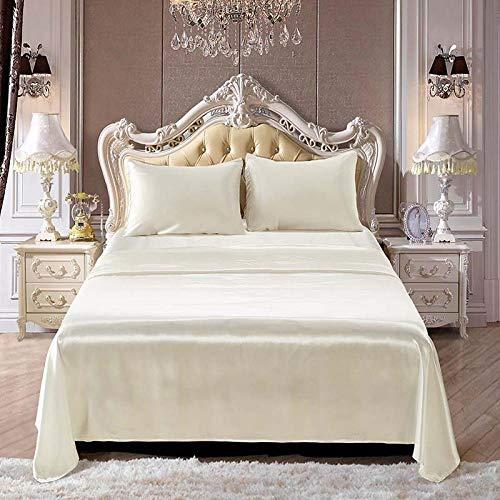 zlzty 4-teiliges Satin-Seidenbettlaken Soft Queen King-Size-Bett Spannbetttuch-Set Bohemian Bedclothes Heimtextilien-Bettlaken-Set @ White_Queen (White Queen-size-betten)