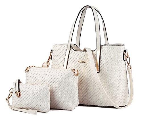 Tibes Art und Weise PU Leder Handtasche + Schultertasche + Geldbeutel 3pcs Beutel Silber Beige (Handtasche Beige Leder)