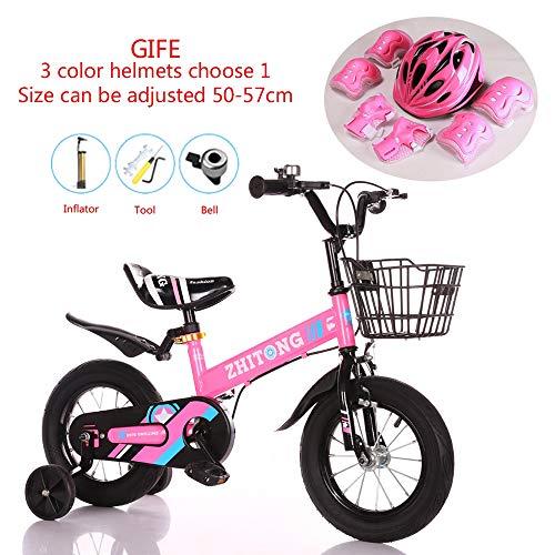 WSYY-Fahrrad Kinderfahrräder, die 12/14/16/18 Zoll-Rad Falten Rahmen aus Kohlenstoffstahl, Geschenk-Helmset,Pink,18